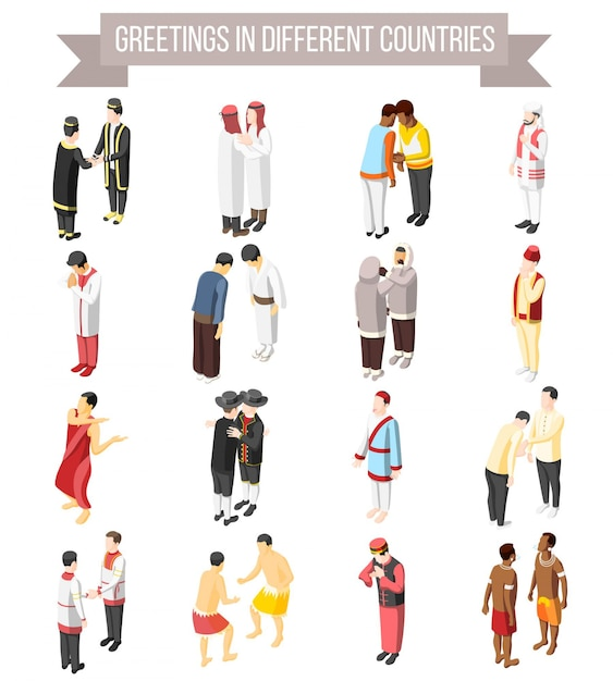 Set of isometric decorative icons illustrated manner and gesture of people greetings in different countries isolated Free Vector