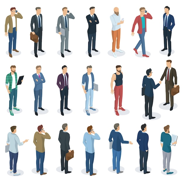 Set of isometric  flat design  standing men different characters, styles and professions. front and back view, various characters, professions, poses and styles.  mock up element set. Premium Vector