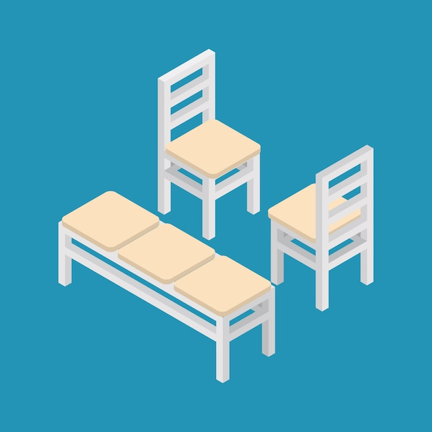 Set of isometric furniture bench and chairs. Premium Vector