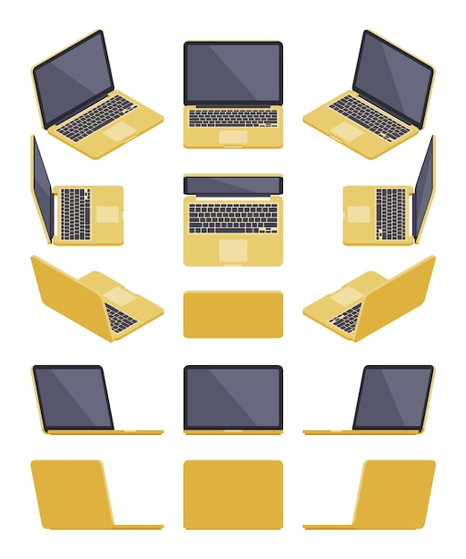 Set of the isometric golden laptops Premium Vector