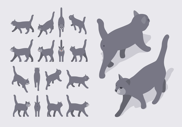 Set of the isometric grey walking cats Premium Vector