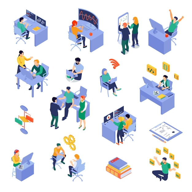 Set of isometric icons programmers at work place during coding debugging or software testing isolated Free Vector