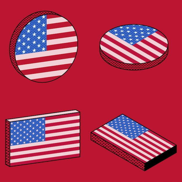 Set of isometric icons of usa flag in retro style Premium Vector