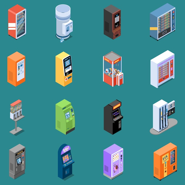 Set of isometric icons with various vending machines isolated vector illustration Free Vector