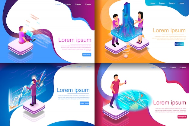Set isometric illustration virtual entertainment Premium Vector