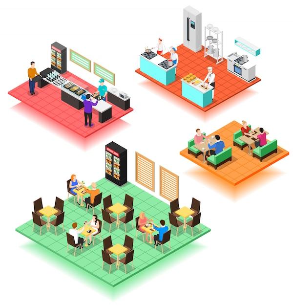 Set of isometric interiors of fast food restaurant Free Vector