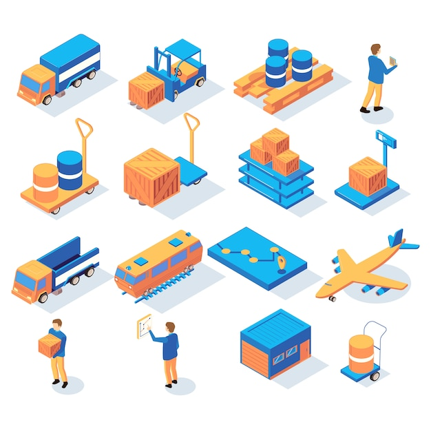 Set of isometric logistics delivery icons with people and images of transportation vehicles and stock parcels vector illustration Free Vector