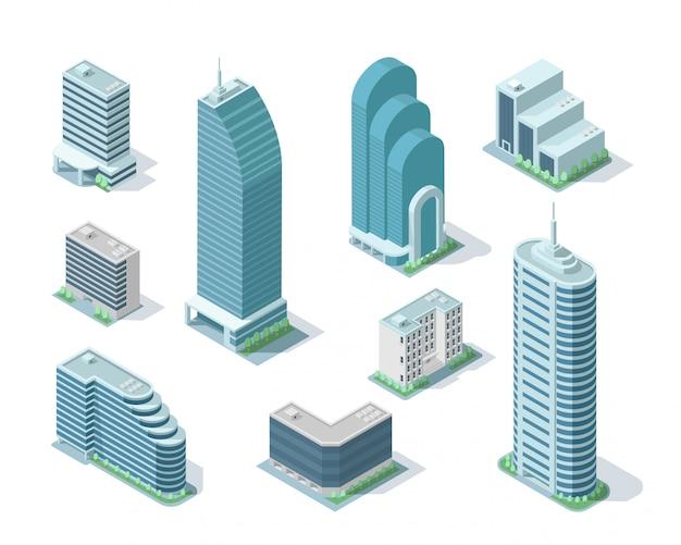 Set of isometric modern building illustration Premium Vector