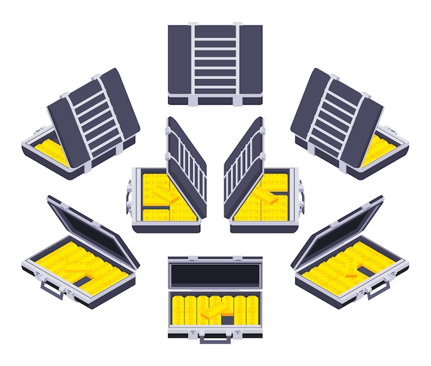 Set of the isometric open briefcases with the golden bars Premium Vector