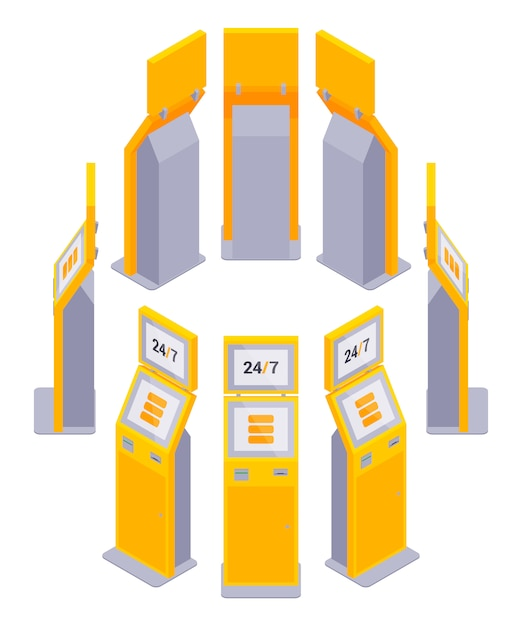 Set of the isometric payment terminals Premium Vector