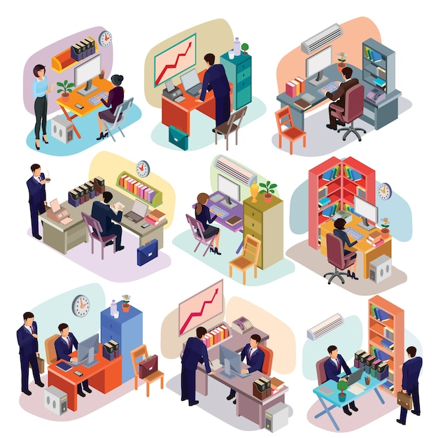 Set of isometric people in business suits in the office. Free Vector