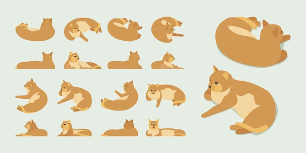 Set of the isometric red lying cats Premium Vector