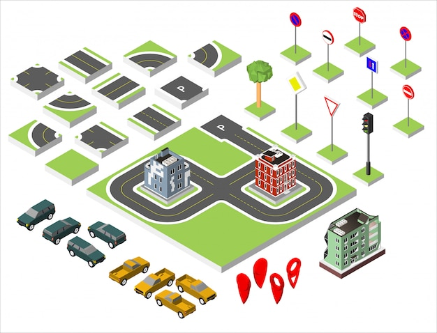 Set isometric road and vector cars, common road traffic regulatory, building with a windows and air-conditioning. Premium Vector