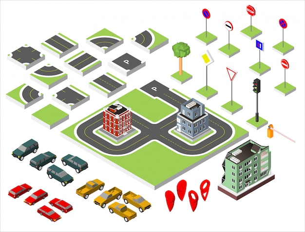 Set isometric road and vector cars, common road traffic regulatory. Premium Vector