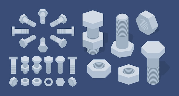 Set of the isometric screw-nuts and bolts Premium Vector