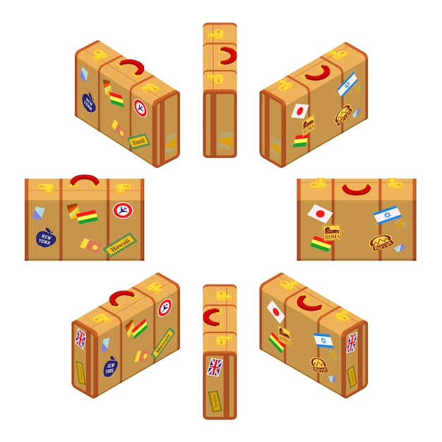 Set of the isometric standing yellow travelers suitcases. Premium Vector