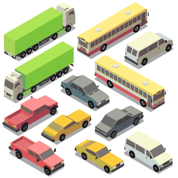 Set of isometric urban transportation. cars with shadows isolated on white background. truck, Free Vector