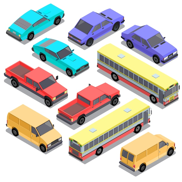 Set of isometric urban transportation, cars Free Vector