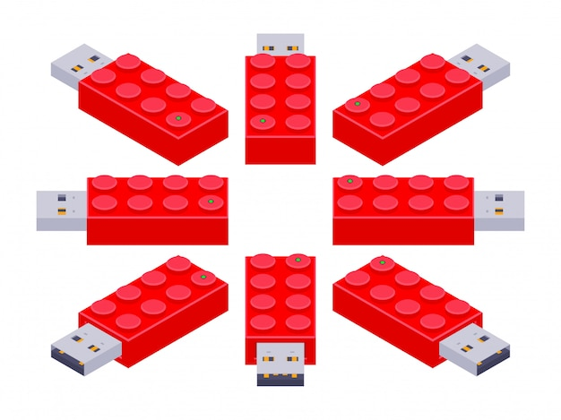 Set of the isometric usb flash-drives in a shape of the constructor bricks Premium Vector