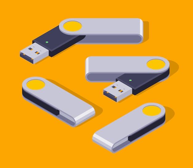 Set of the isometric usb flash-drives Premium Vector