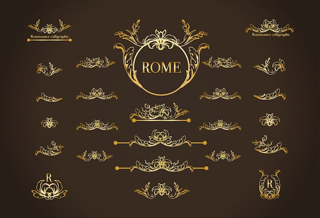 Set of italian calligraphic design elements for page decoration Free Vector