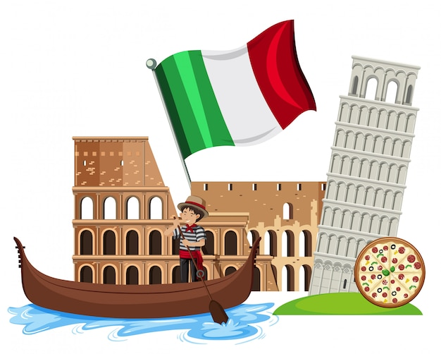 A set of italy tourist attraction Premium Vector