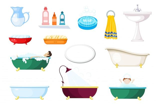 Set of items for the bathroom. various baths and hygiene items Premium Vector