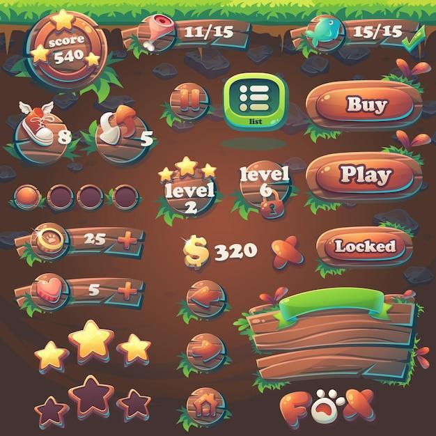 Webビデオゲーム用のfeedthe fox gui match3のアイテムを設定します Premiumベクター