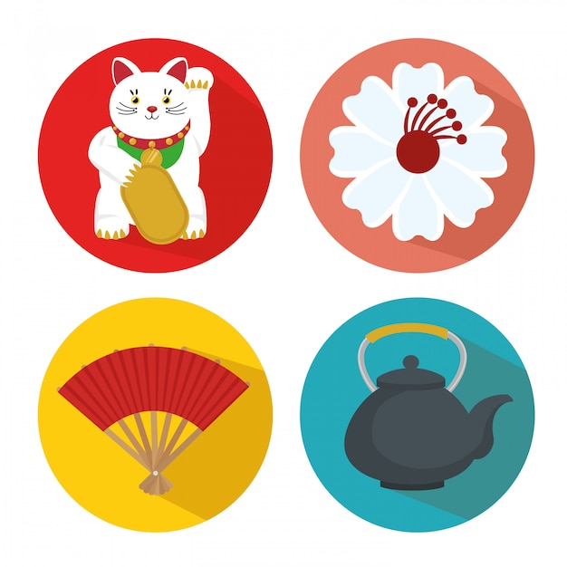Set japan culture icons Free Vector