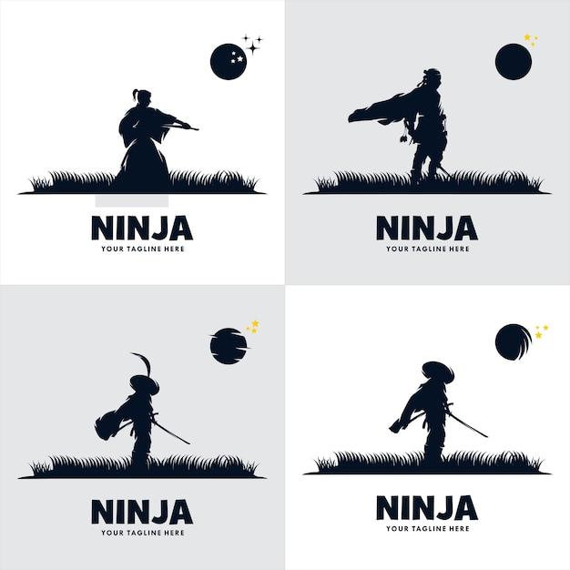 Set of japan ninja sword logo Premium Vector