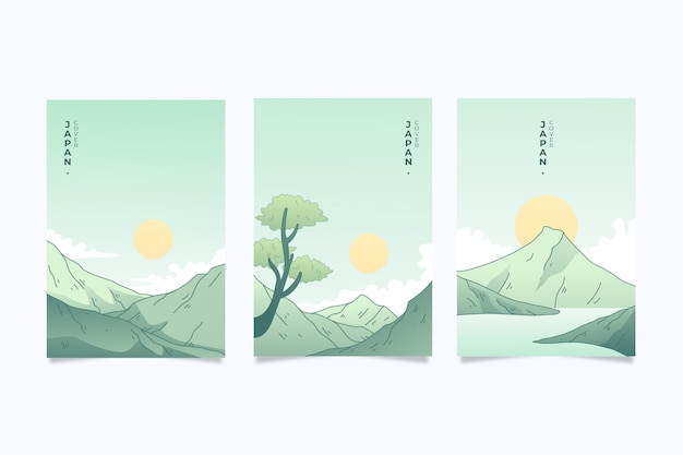 Set of japanese covers minimalist design Free Vector
