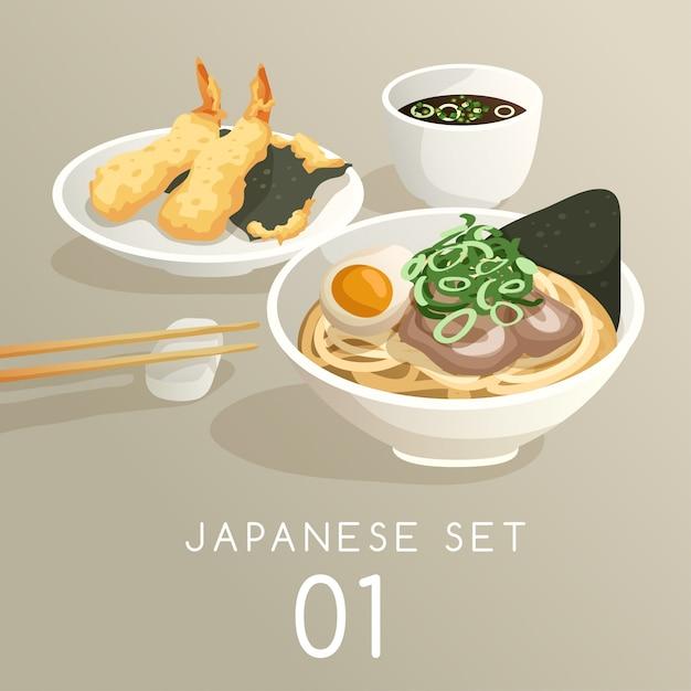Set of japanese food illustration Premium Vector
