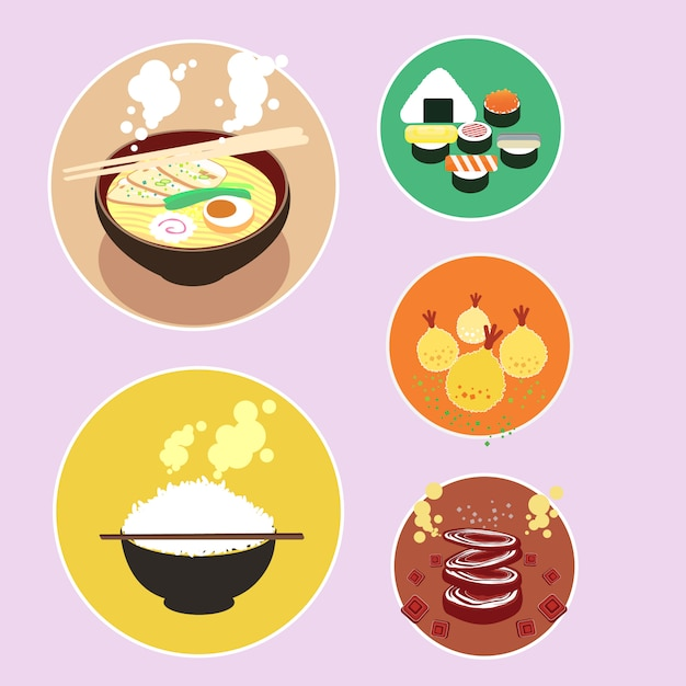 Set of japanese food Premium Vector