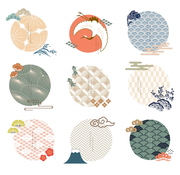 Set of japanese icon and logo template. geometric pattern in asian traditional style. wave, plum flower, cherry blossom flower, carp fish, cloud and bonsai elements. Premium Vector