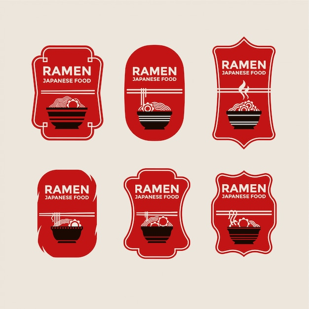 Set of japanese noodles or ramen badges Premium Vector
