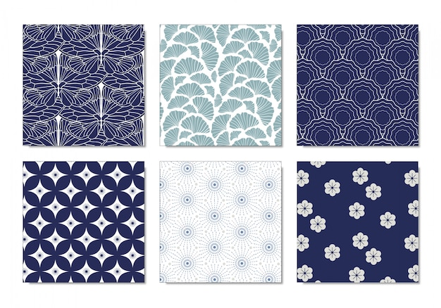 Set of japanese pattern Premium Vector