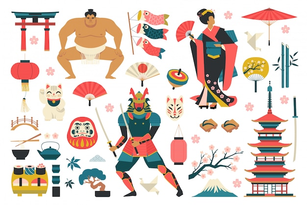 Set of japanese traditional elements vector illustration. Premium Vector