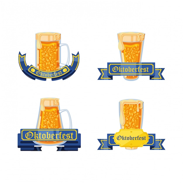 Set of jars beers oktoberfest celebration Premium Vector