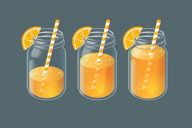 Set of jars with homemade lemonade in vintage glass. Premium Vector