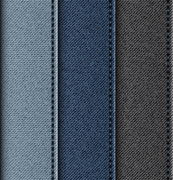 Set of jeans vertical stripes with stitches. Premium Vector