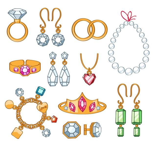 Set of jewelry items. Premium Vector