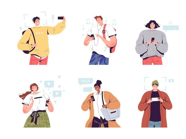 Set of joyful people with phones in their hands. Premium Vector