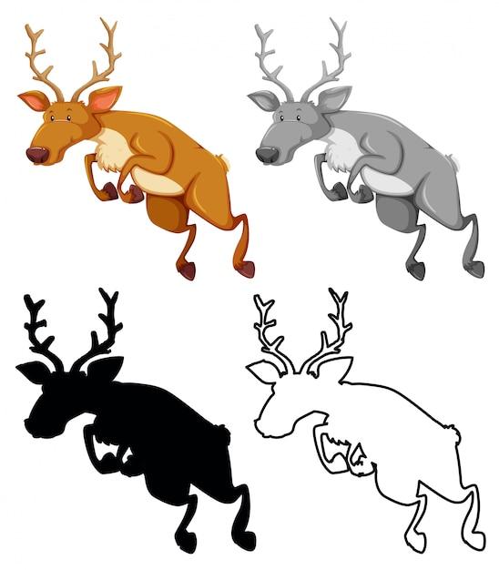 Set of jumping elks Free Vector