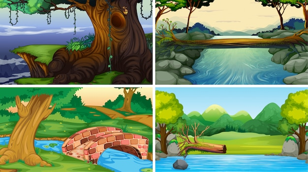 Set of jungle scenes background Free Vector