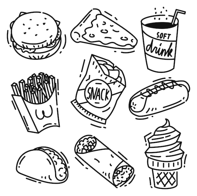 Set of junk food icon doodle isolated on white background ...