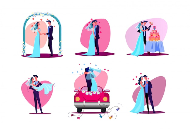 Set of just married couple Free Vector