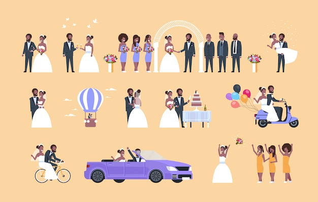 Set just married man woman standing together different concepts collection   couple bride and groom in love wedding day celebration full length horizontal flat Premium Vector