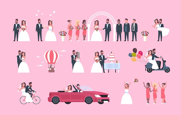 Set just married man woman standing together different concepts collection romantic couple bride and groom in love wedding day celebration full length horizontal Premium Vector