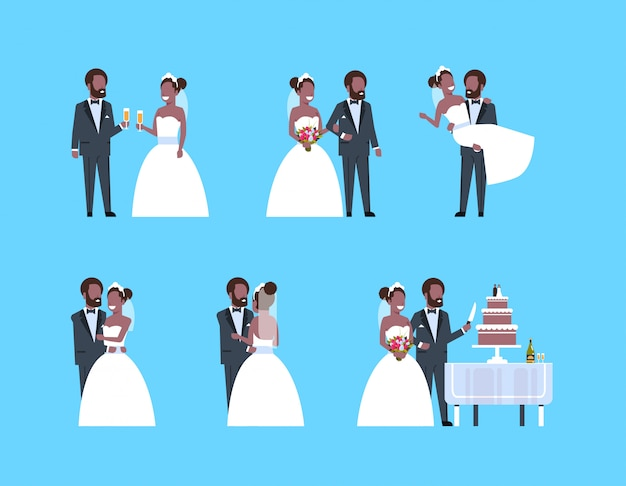 Set just married man woman standing together different poses collection   couple bride and groom in love wedding day concept full length horizontal flat Premium Vector