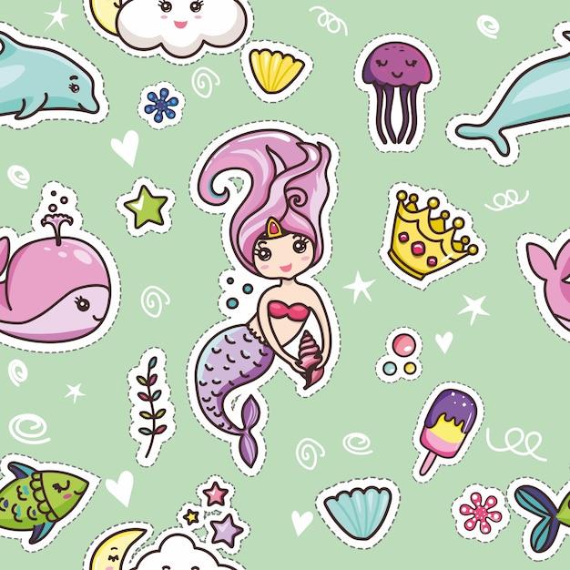 Set kawaii cartoon lettering girlish card template Premium Vector